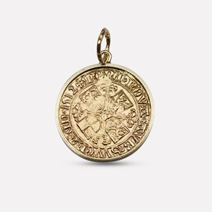 Bryggen coin in yellow gold with frame
