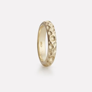 Boble ring in yellow gold, women`s