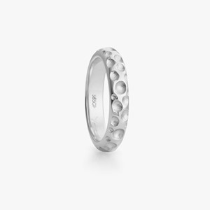 Boble ring in white gold, women`s