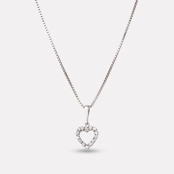 Heart pendant in white gold with diamond