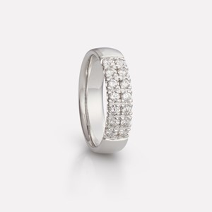 Two-row ring in white gold with diamonds