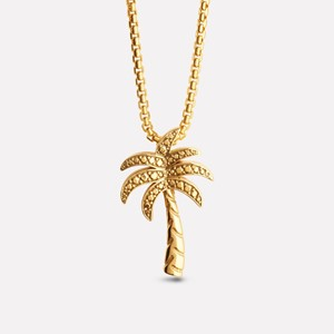 Palm tree pendant in yellow gold