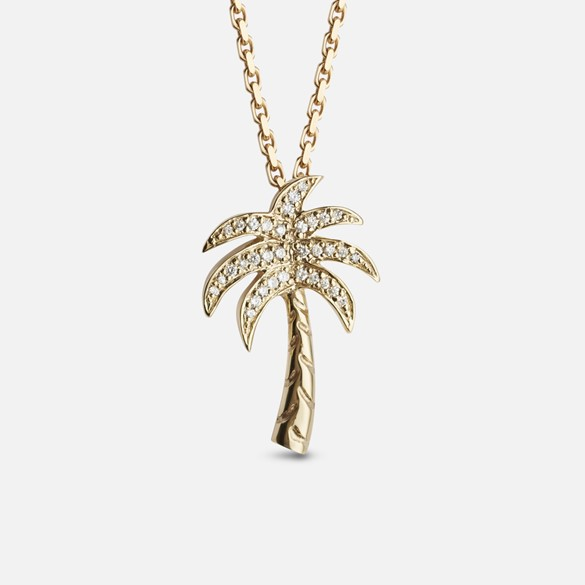 Palm tree pendant in yellow gold with diamonds