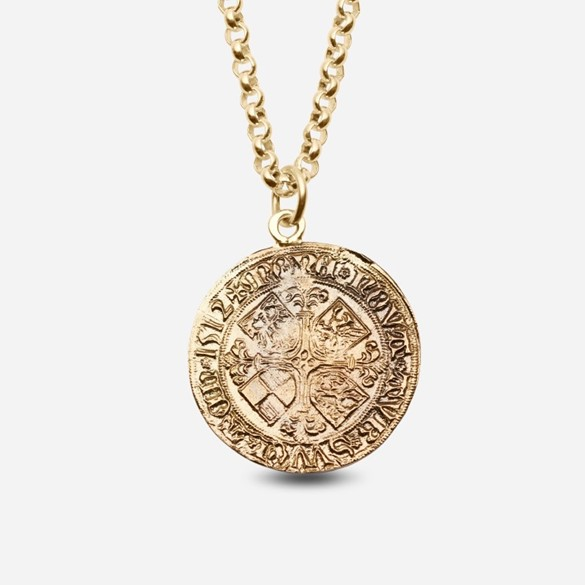 Bergen pier coin in yellow gold with chain
