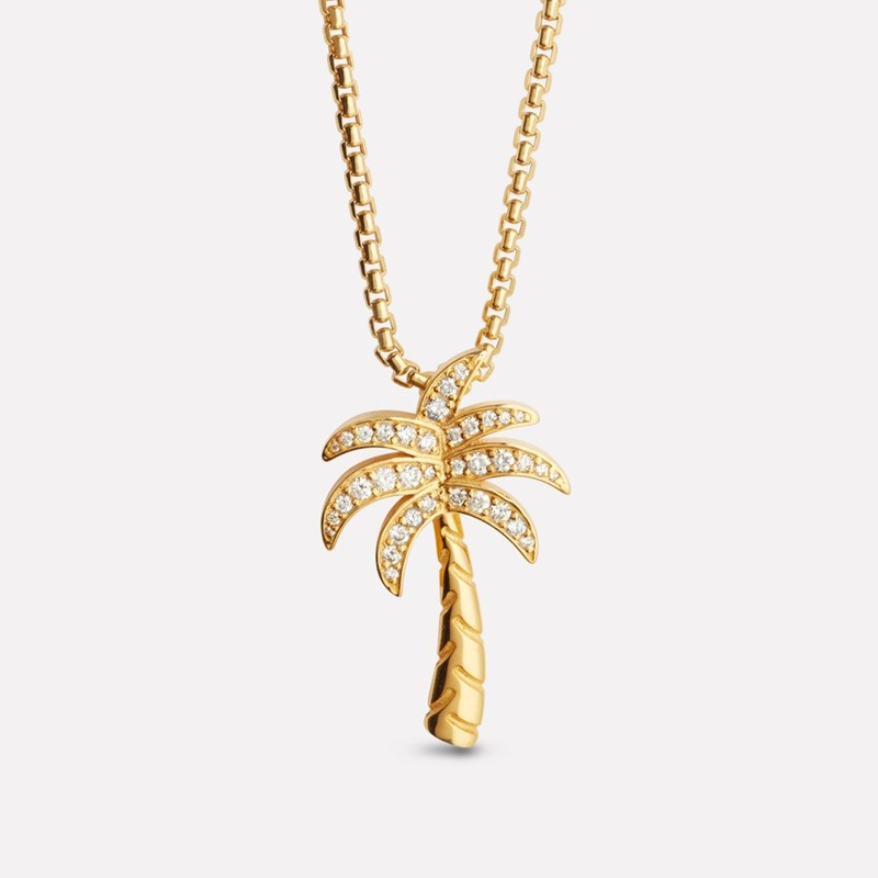 Palm tree crew anheng i gult gull med diamanter og kjede arven as palm tree pendant in yellow gold with diamonds 608320palmtreediamantgray mozeypictures Gallery