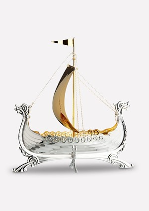 Viking ship in silver with sail