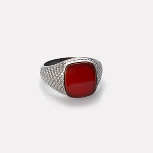 Unisex ring in silver with carnelian gemstone