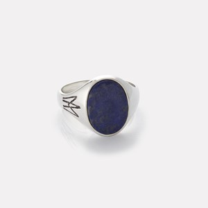 Unisex ring in silver with lapis gemstone