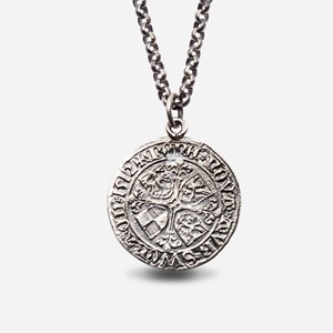 Bergen pier coin in oxidized silver with chain