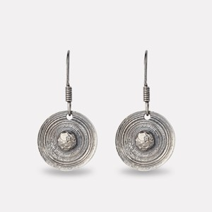 Viking shield earring in oxidized silver