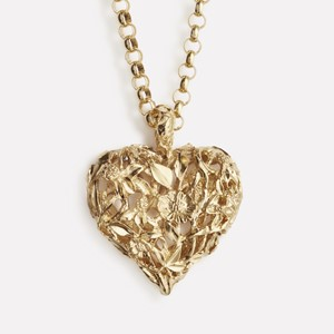 Red clover heart pendant in gold plated silver