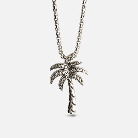 Palm tree pendant in oxidized silver